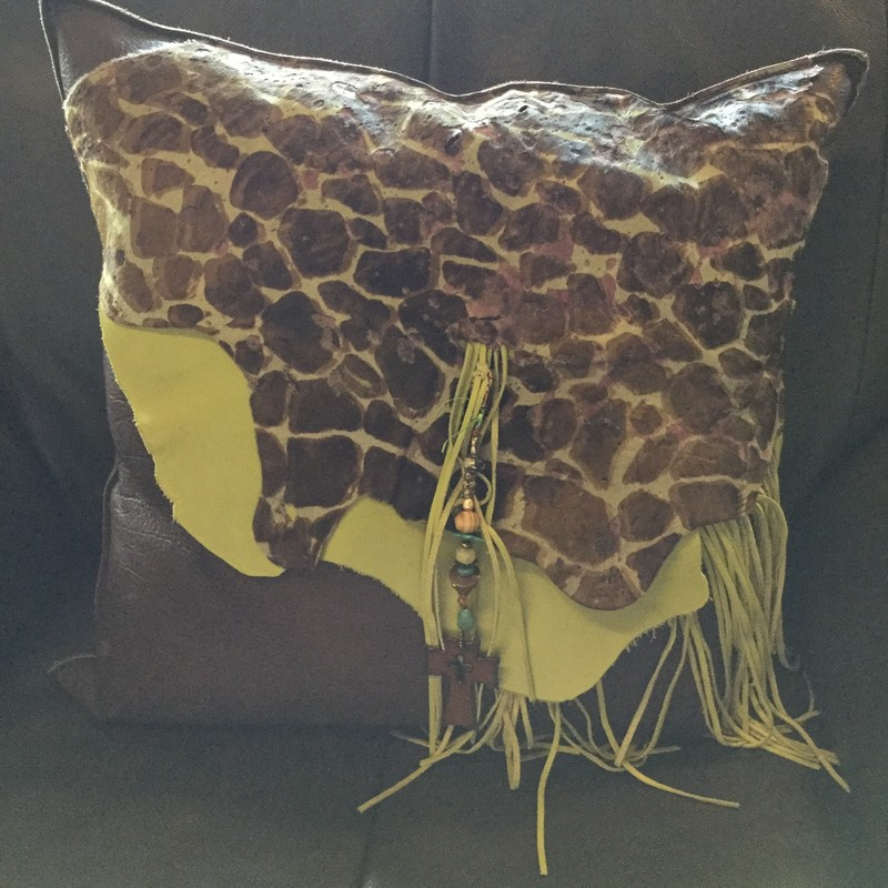 "Leather Pillow W/Fringe, Brown and Lime Green, Size: 18""x18"""