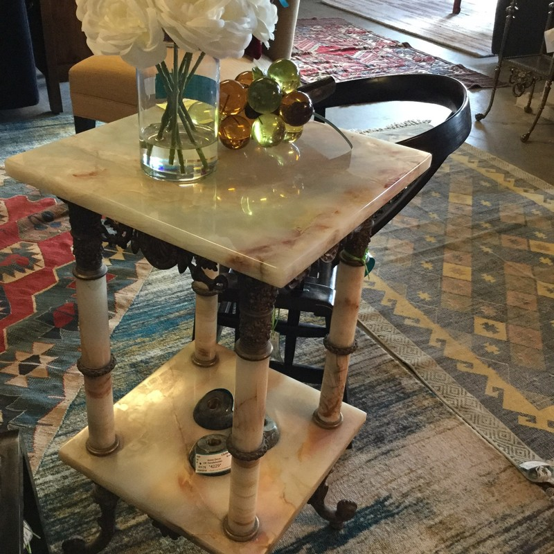 "Two Tiered Side Table, Gold & Marble, Size: 15""X15""X30"""