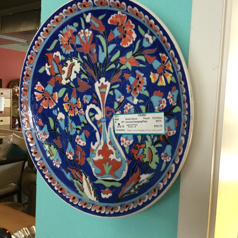 CeramicHangingPlate, Floral, Size: 12.5 Round