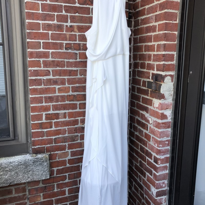 Evening Collection Dress Size 14<br /> NWT white asstmetrical gown. No discount available on this item.