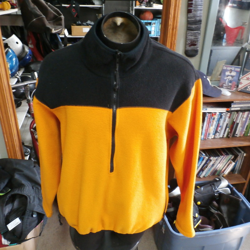 "REI orange and black half-zip men's fleece jacket size XL 100% polyester #34946<br /> Rating: (see below) 4- Fair Condition<br /> Team: n/a<br /> Player: n/a<br /> Brand: REI<br /> Size: Men's XLarge- (Measured Flat: Across chest 27""; Length 27"")<br /> Measured Flat: underarm to underarm; top of shoulder to bottom hem<br /> Color: orange<br /> Style: long sleeve<br /> Material: 100% polyester<br /> Condition: 4- Fair Condition: material feels a bit rough; small burn hole in sleeve (see photos)<br /> Item #: 34946<br /> Shipping: FREE"