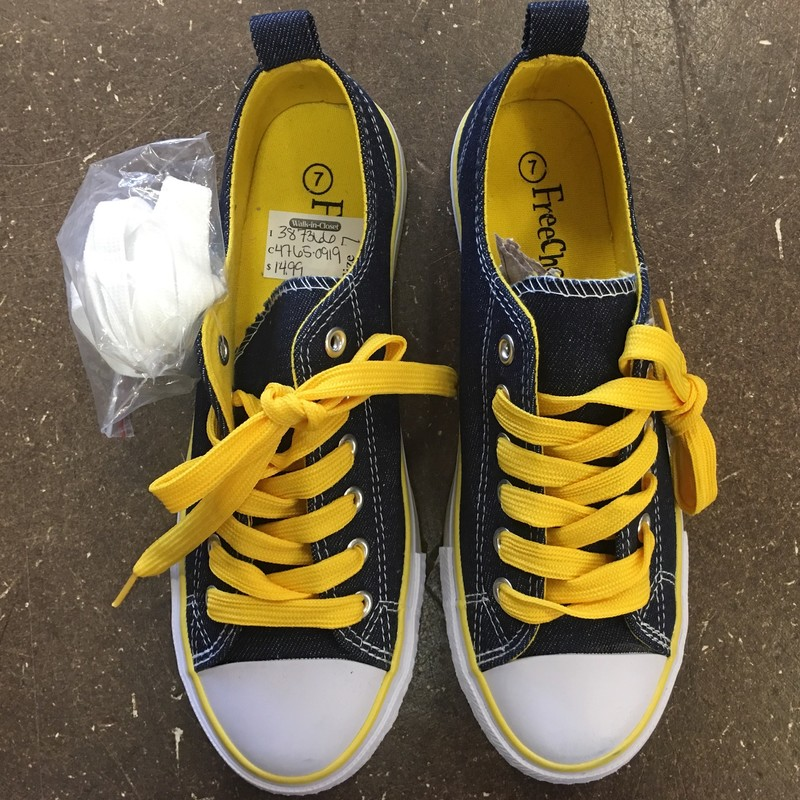 Shoes, Denim with yellow laces, interior, and accents, Size: 7