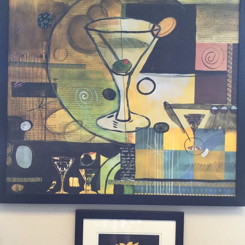 "Martini Art, Yellow and Blue, Size: 40""square"