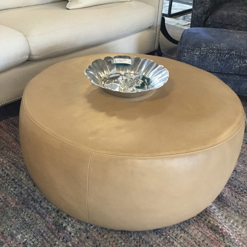 "Crate & Barrel Cocktail Leather Ottoman, Cream, Size: 35"" Round"