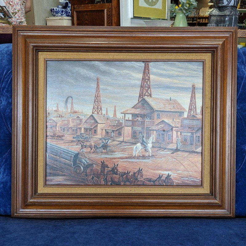 Oil Town Painting Orbie R.<br /> Brown<br /> Size: 28x24