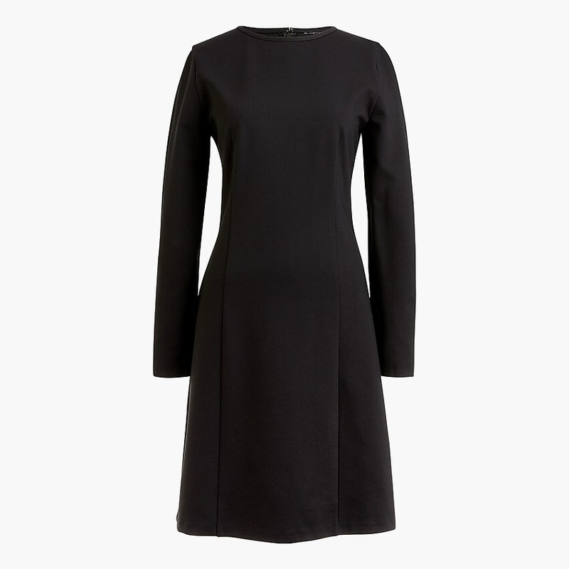 "J. Crew Women's Long-Sleeve Sheath Dress, size Med<br /> <br /> "" A thick, holds-you-in knit fabric and a sleek long-sleeve silhouette makes this style the perfect 30-second outfit (for work, after work and more). Just add tights and voilà.<br /> <br />     Viscose/poly/elastane.<br />     Back zip.<br />     Machine wash.<br /> Falls above knee.<br />     Length: 37"" from high point of shoulder."""