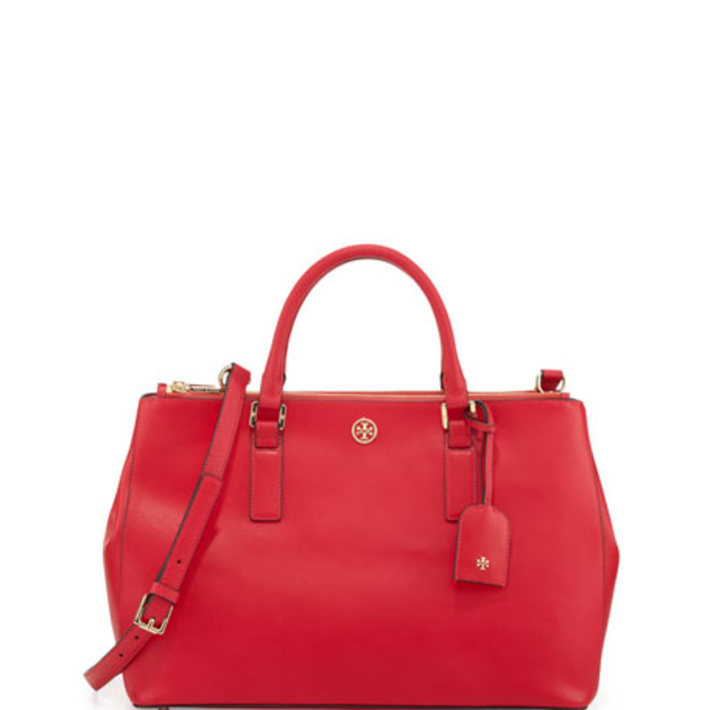 Tory Burch Robinson Large Double Red Saffiano Leather Tote like new condition. orig. rtl: $498