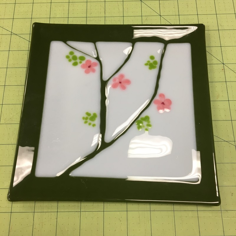 Asian Fused Glass Dish, Green, Size: 9x9 Inch