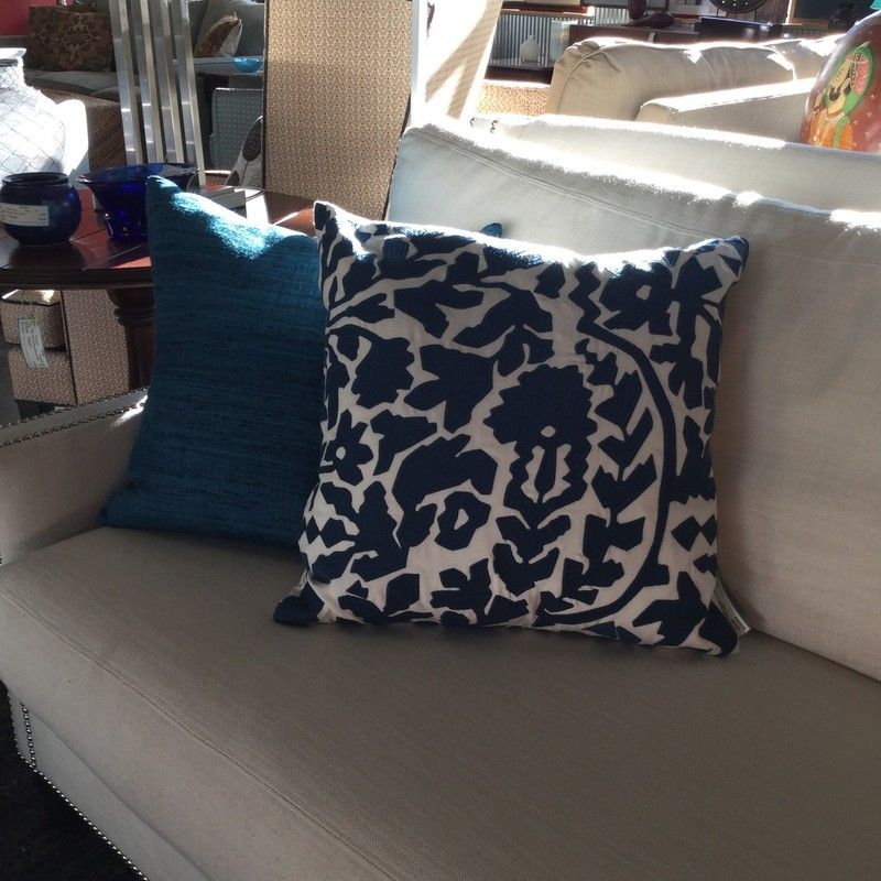 "Dwell Applique Pillow, Blue & White, 2 Available, Size: 18""X18"""