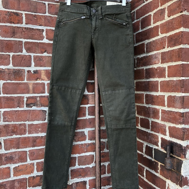 Rag & Bone jeans, army green, size 24. Zippered front pockets, in new condition.