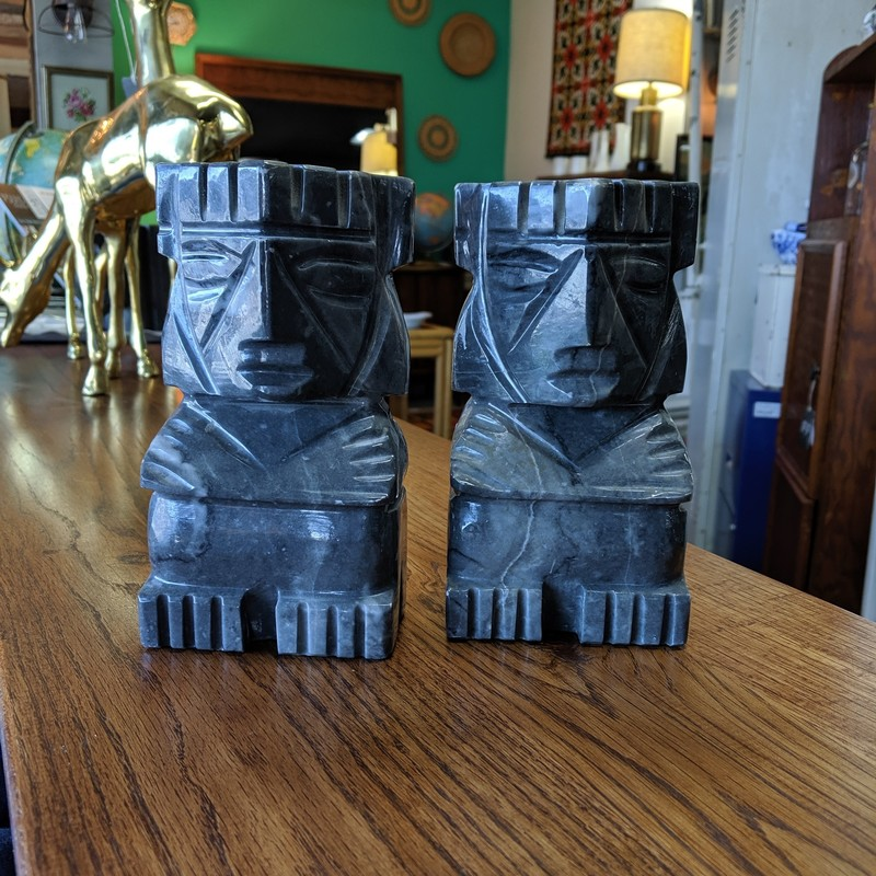 "Aztec Stone Bookends<br /> Gray<br /> Size: 7"" Tall"
