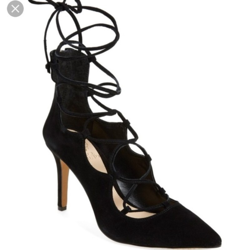 Vince Camuto EUC Sandria Lace Up Heels, Black, Size: 7.5 orig. rtl: $145<br /> <br /> Suede upper<br /> Lace-up vamp<br /> Back zip closure<br /> Covered heel<br /> Leather insole<br /> Measurements: Heel height 4""