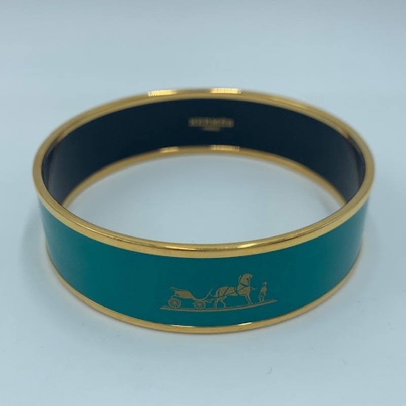 "Hermes Caleche Bangle, Teal, Size: NS.<br /> <br /> Estimated Retail: $530<br /> Box + dust cover included<br /> <br /> 9"" circumference<br /> .79"" wide"