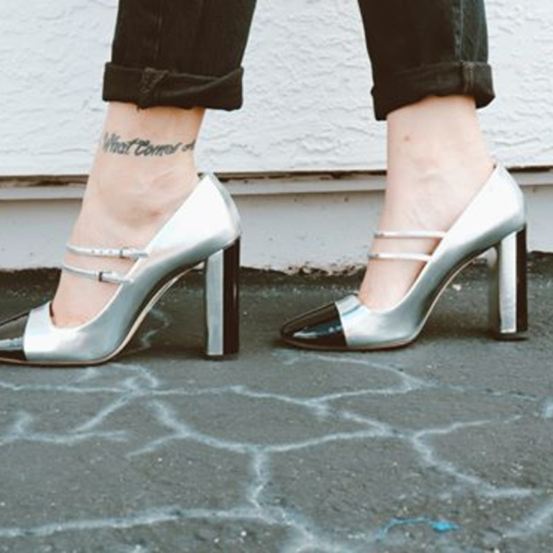 MiuMiu black and silver metallic chunk heels<br /> <br /> size 8<br /> <br /> AS IS some scuffs on back