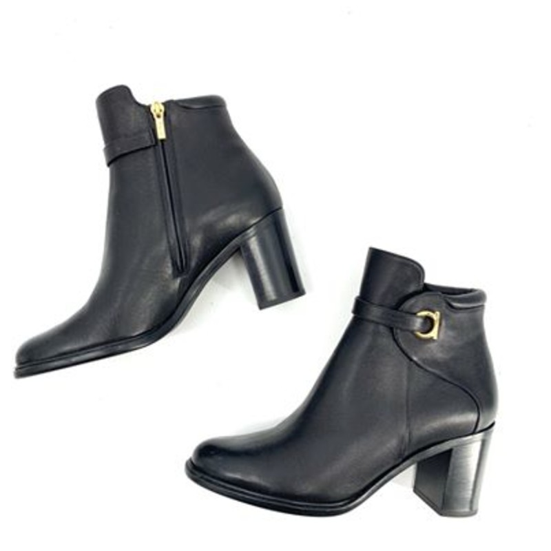 Ferragamo black leather booties<br /> <br /> cute Ferragamo detail on side<br /> <br /> good condition