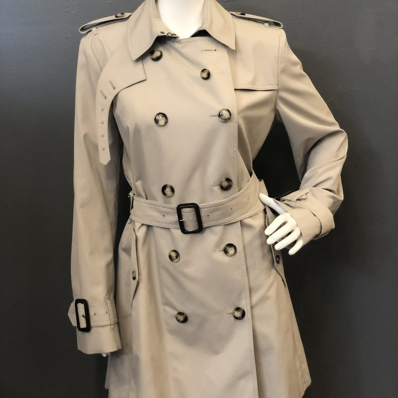 Burberry double breasted Trench, Cream, Size: 12<br /> new with tags<br /> 65% polyester<br /> 35% cotton