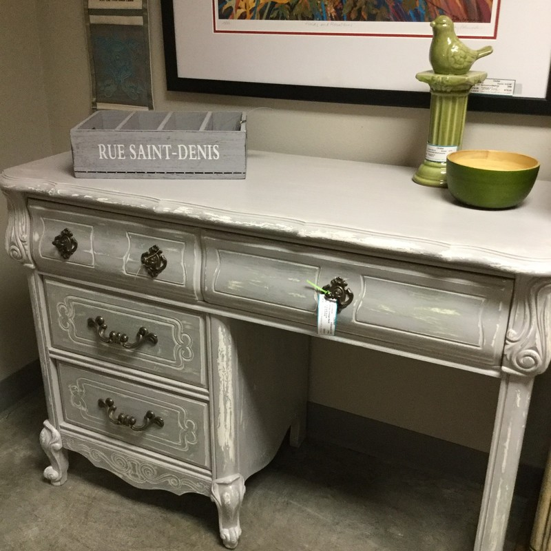 "White Vintage Desk, 4 Drawer, Size: 42""X18""X30"""