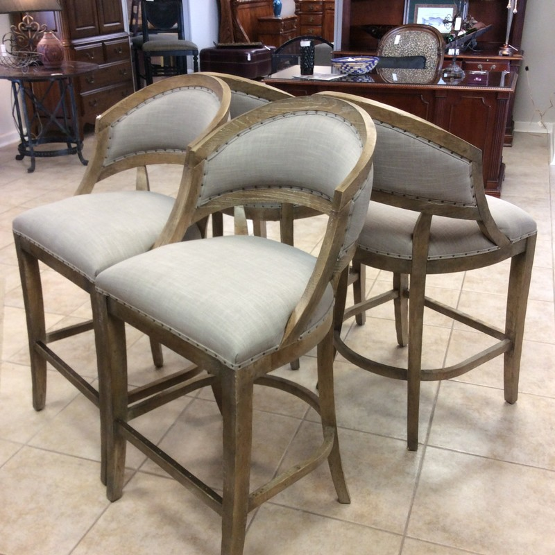 THESE ARE GORGEOUS!!! In fact they look barely used. They feature solid wood frames with an ashy finish, and have neutral taupe colored, linen-like upholstered seat cushions and seat backs. The petite nailhead accents are lovely and they are SUPER comfortable!