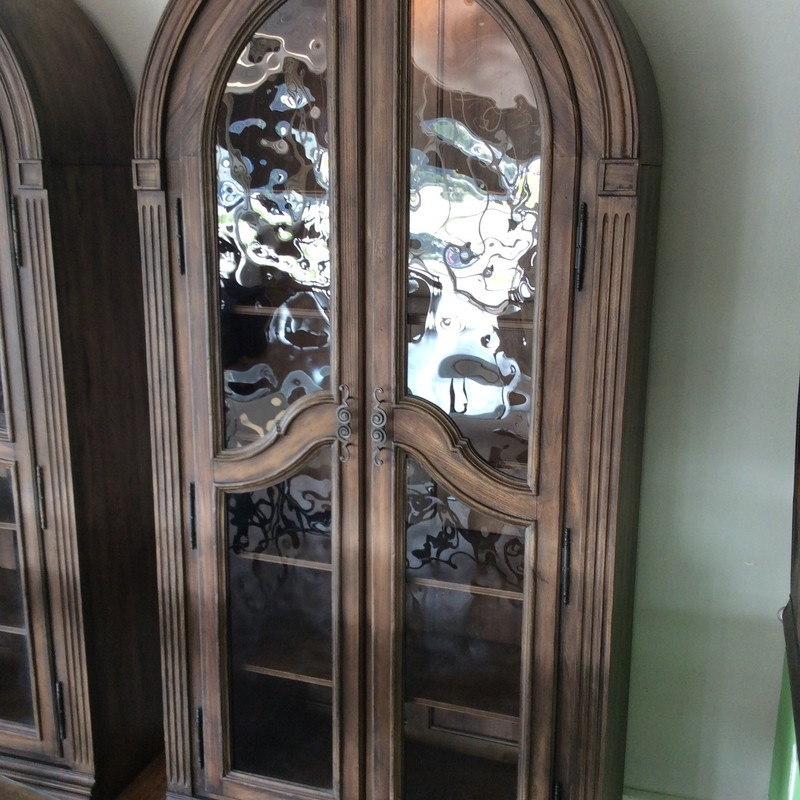 We actually have TWO of these HOOKER beauties.They retail at ~$3000 each (on sale!) online right now. They each have 5 shelves, the top 2 of which are glass and wood, while the lower 3 are solid wood. The pretty driftwood color and special glass panels put these cabinets OVER THE TOP. They are priced at $1495 EACH.