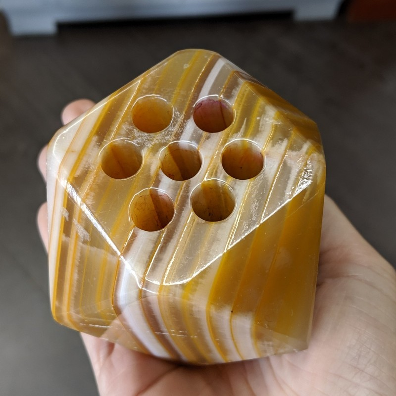 "Stone Pen Holder Geometrical<br /> Tan<br /> Size: 3"" Tall"