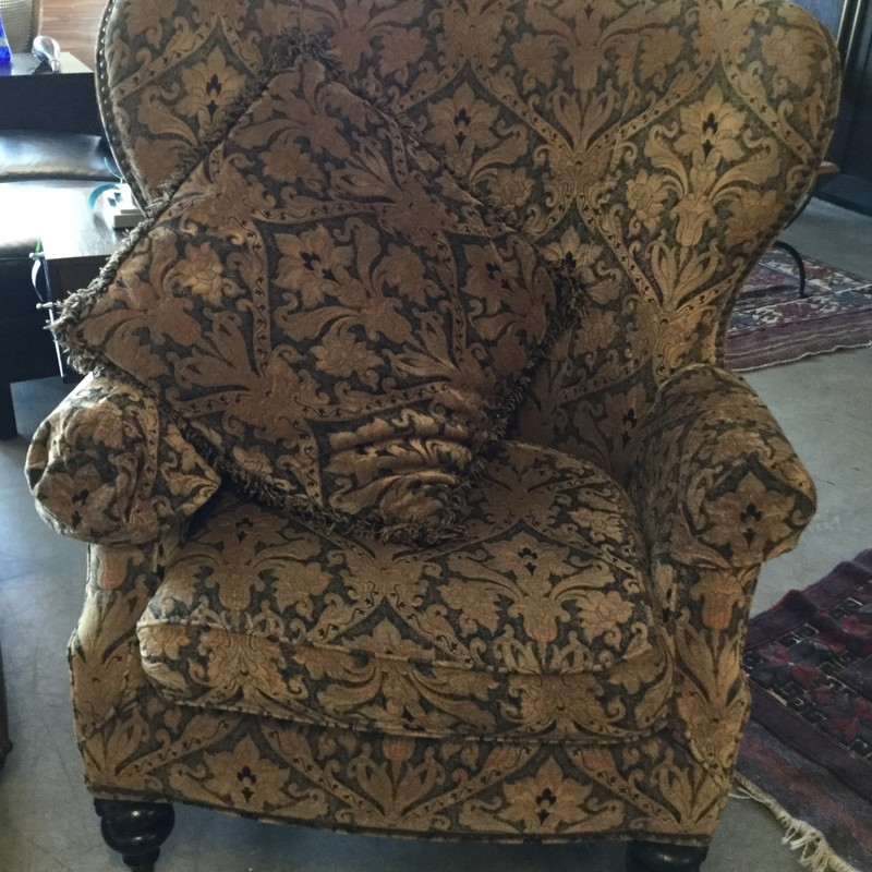 "Wingback Chair, Gold & Brown, Size: 36""X38""X43"""