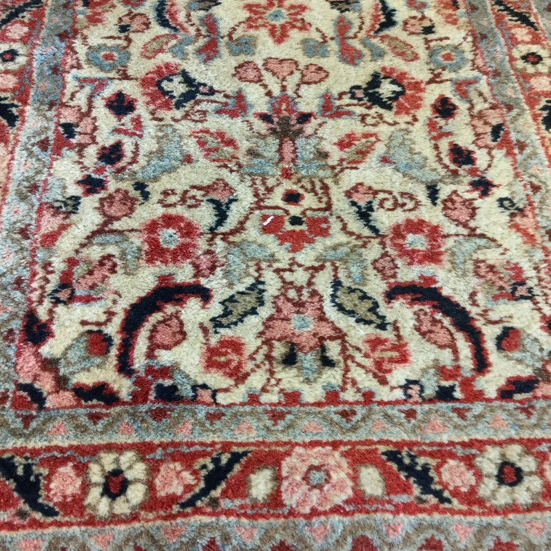"Iranian Runner, 70 Years Old, Red, Mauve, Blue, Ivory, Size: 28""x73"""