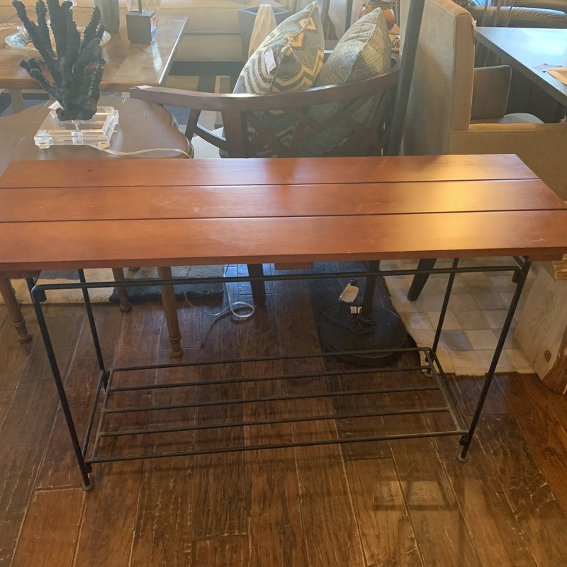 "Plank And Metal Plank Console with lower rack. 46""W x 27""H x 16""D. Great Price"
