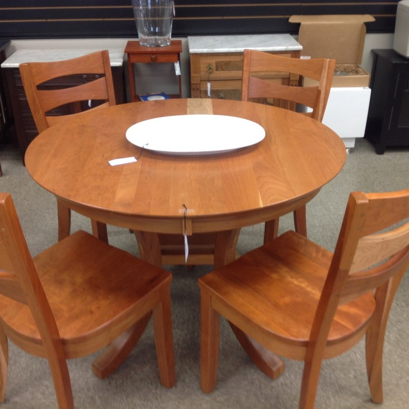 4 Chairs/ Dining Table, Cherry, Size: 42 Inch