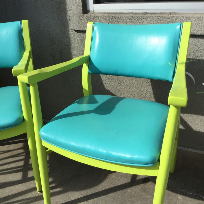 Teal/green Painted Armcha, Arms, Size: 24.19.32. We have two of these chairs!