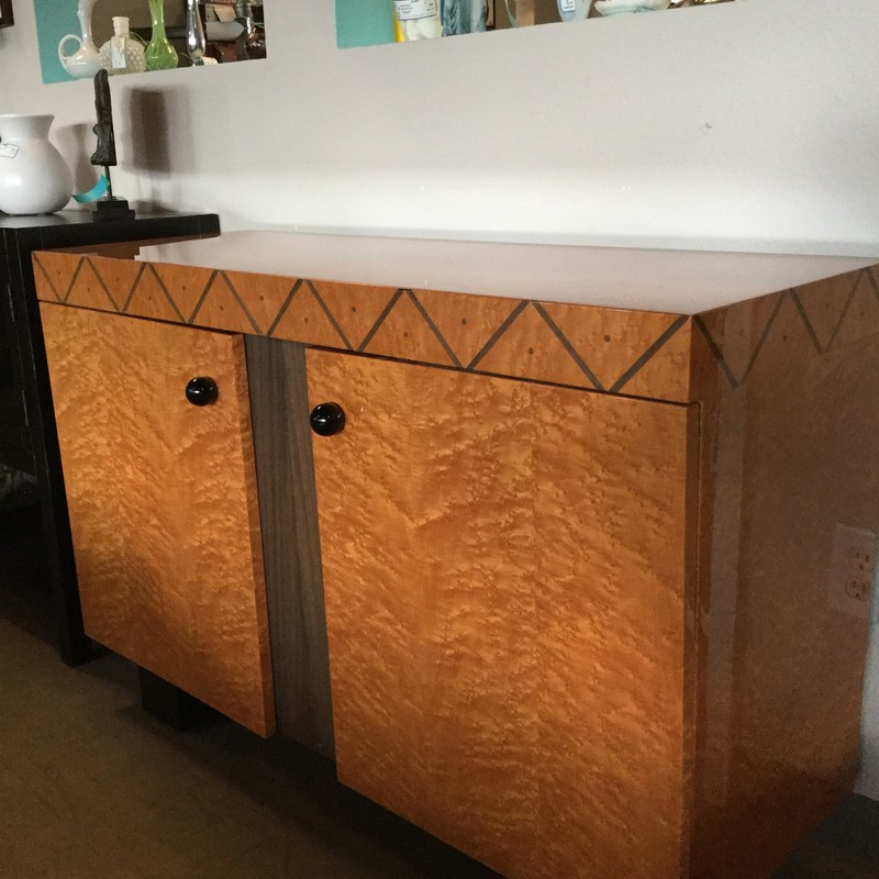 "Art Deco Style, Ft. Lauderdale Design Center Console, Tiger Maple Wood, Black Knobs, Size: 47""X16""X31"""