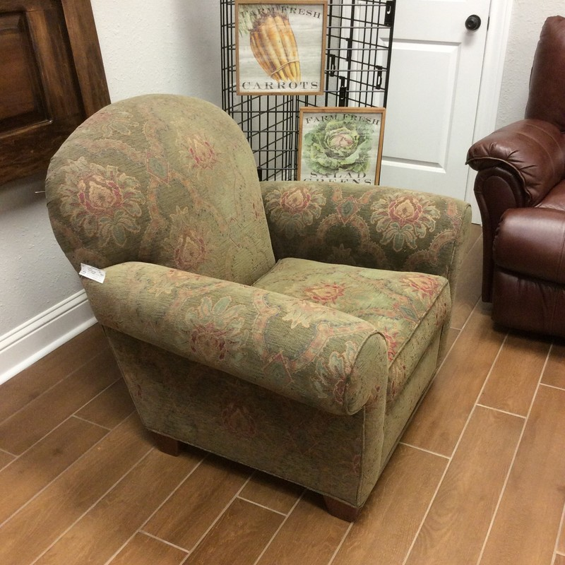 BARGAIN ALERT!! Here is another cozy upholstered arm chair for only $195. It shows some signs of wear, but is still in really good condition. Stop by and see it for yourself.