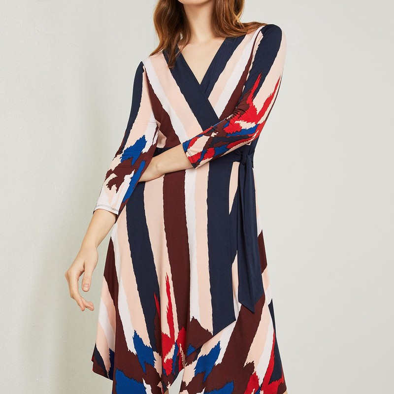 "BCBGMax Azria Isabella Knit Asymmetrical Striped Wrap Dress orig. rtl: $198<br /> <br /> ""<br />     Fabric Self and Contrast: 95% Polyester, 5% Spandex<br />     Imported<br />     Wrap closure<br />     Machine Wash<br />     V-neckline<br />     Long<br />     Adjustable waist-tie<br /> <br />     No<br />     A-line/true to fit""<br /> <br /> Photo and description credits: bcbg.com"