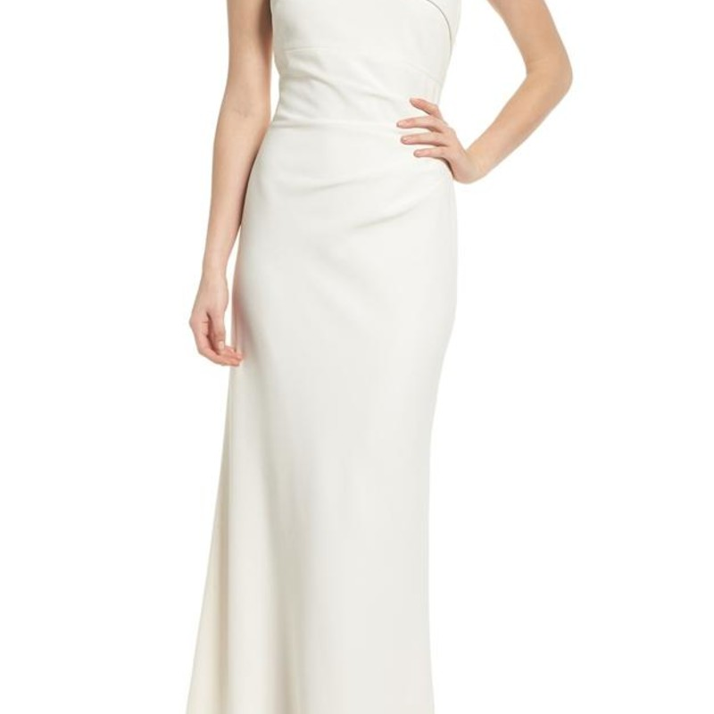 Vince Camuto Cream One-shoulder Crepe Gown Formal Dress size 12, orig. rtl: $228