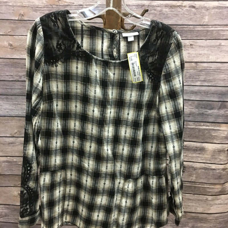 Top, Brown plaid with black lace accents, Size: Medium