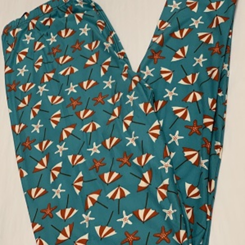 Ladies our Starfish Umbrella Print  full length leggings are perfect for any occasion. These will go perfect with a tunic and pair of boots.<br /> 92% Polyester 8% Spandex<br /> Inseam 29