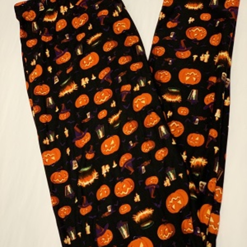Ladies our Halloween Pumpkin full length leggings are perfect for the upcoming holidays. These will go perfect with a tunic and pair of boots.<br /> 92% Polyester 8% Spandex<br /> Inseam 29""