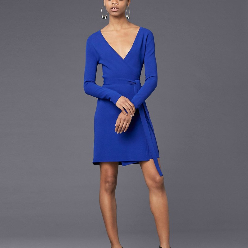 "Diane Von furstenburg Cobalt blue Long-Sleeve V-neck Knit Wrap Dress, size P, orig. rtl: $398<br /> ""    Fresh color updates a sweater-knit style that has everything you look for in a great work dress: professional polish, all-day comfort and figure-flattering shape.<br /> <br />     Fit: this style fits true to size.<br /> <br />     - Surplice V-neck<br />     - Long sleeves<br />     - True wrap style; side tie closure<br />     - Unlined<br />     - Approx. 36"" length (size M)<br />     - Imported<br /> Fiber Content<br />     83% viscose, 17% polyester""<br /> <br /> Photo and description credits: dianevonfurstenburg.com"