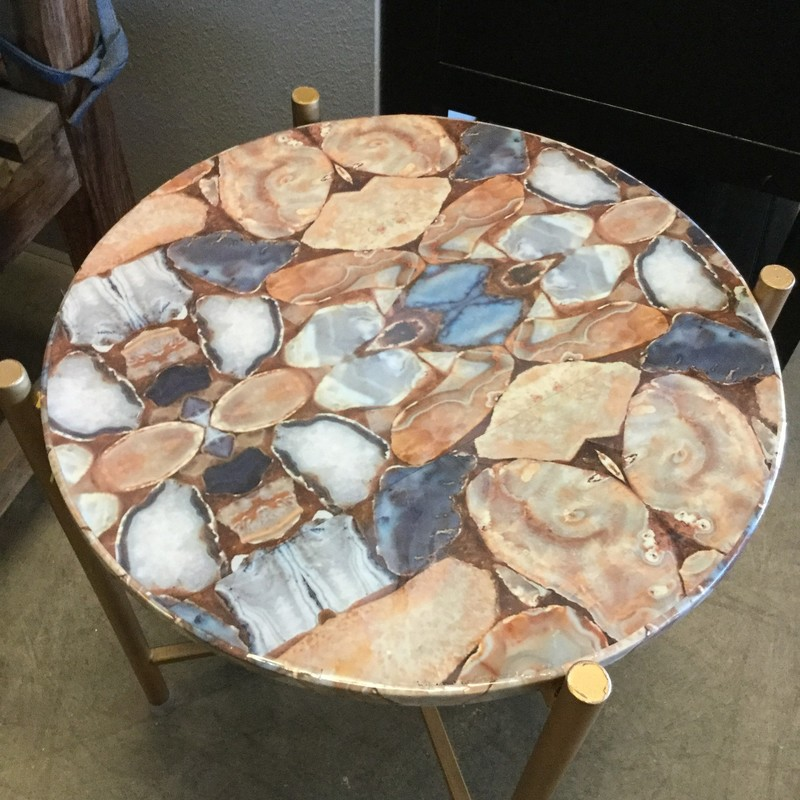 "Side Table, Agate, Size: 19""16""rd. We have two of these beautiful tables."
