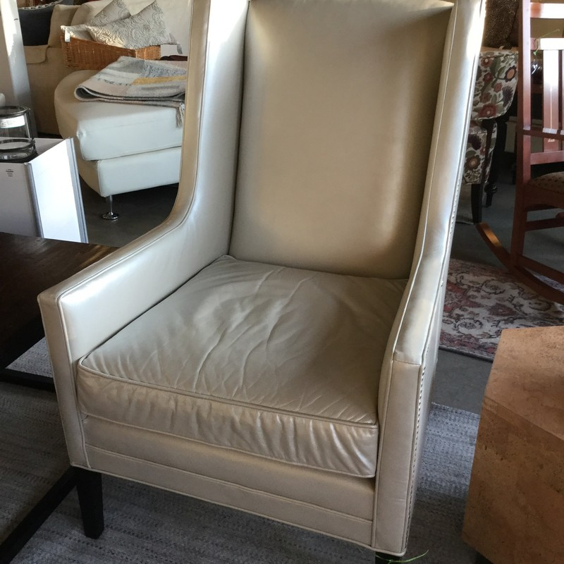 "HW Home Vivianne Chair, Cream Leather, Nailhead, Size: 30""X28""X42"""