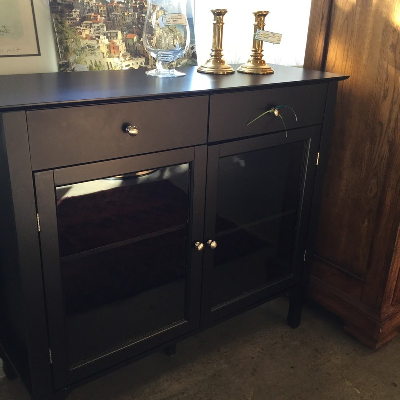"Black Console With Glass Doors, Wood, Size: 42""X15""X36"""