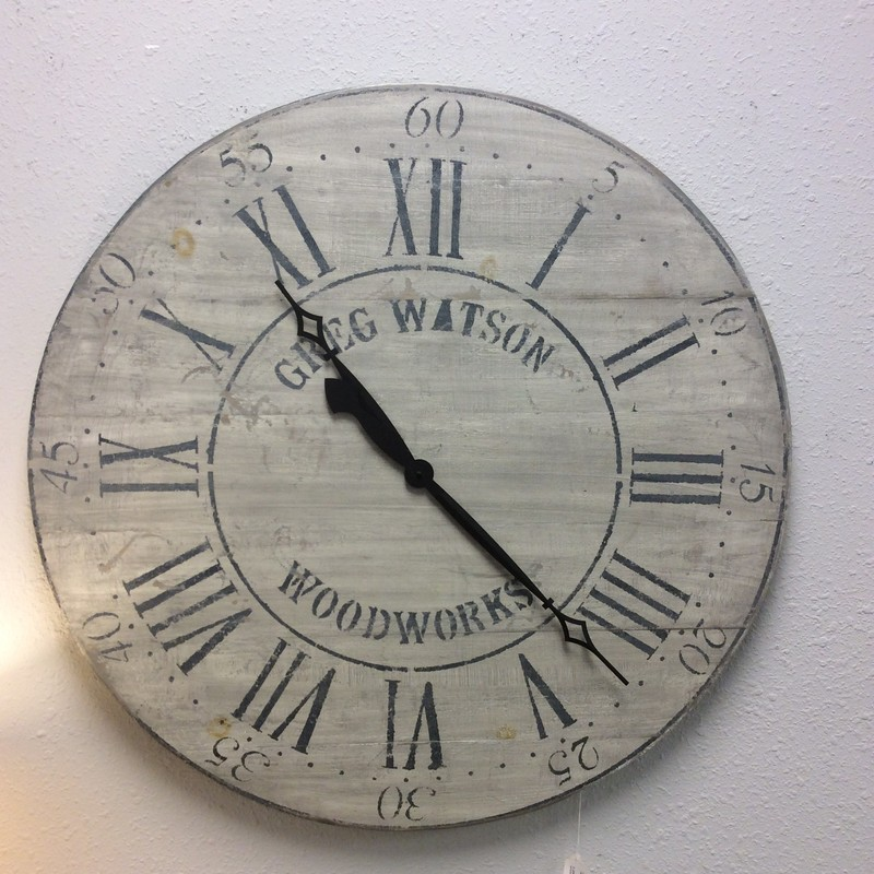 "We have another custom-made wall clock by Greg Watson Woodworks! Large at 36"" in diameter, it has been painted and distressed to give it  that weathered, timeless look. Neutral colors make it easily compatible with many different styles and decor styles. These go fast,so come by soon and take a look!"