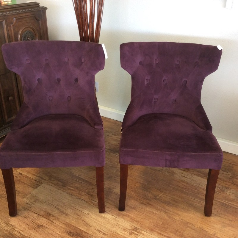 BARGAIN ALERT! This duo will certainly add a pop of color to any room. In fact, the upholstery on the chair backs is even more flashy than that on the fronts. These chairs are very petite and the seat backs are tufted with 9 buttons on each chair. GREAT price at only $159 for the pair!