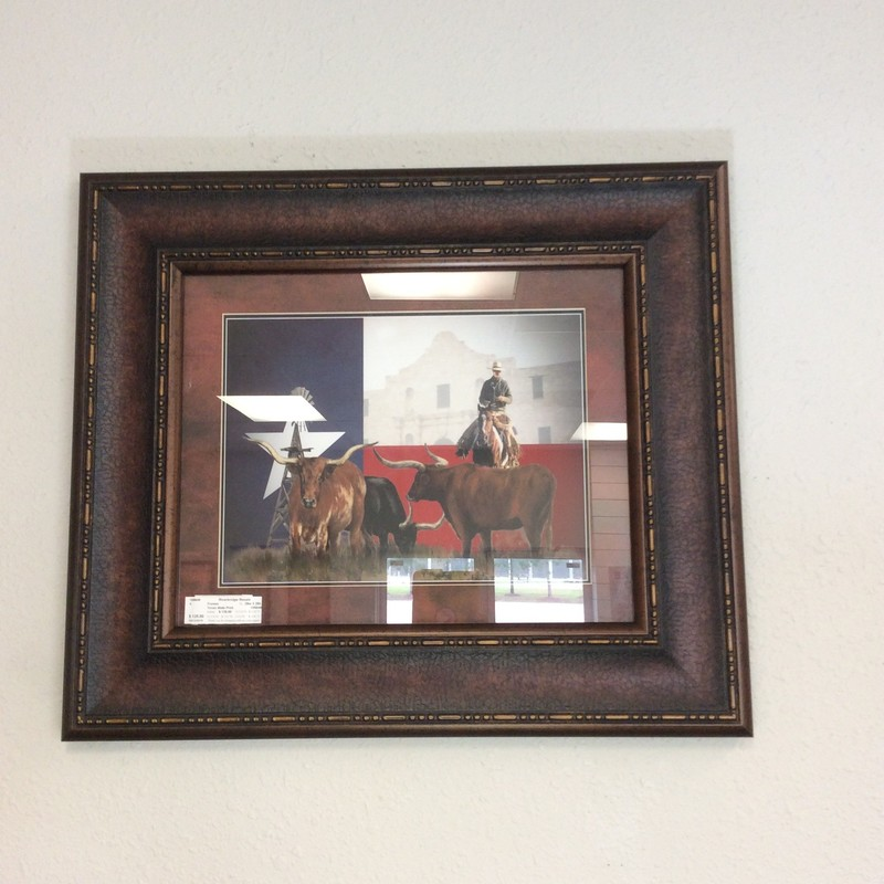 This is a very nice print highlighting several themes from The Great State of Texas! It features theTexas flag as a backdrop along with the Alamo. Handsomely matted and framed. Come by and take a look!