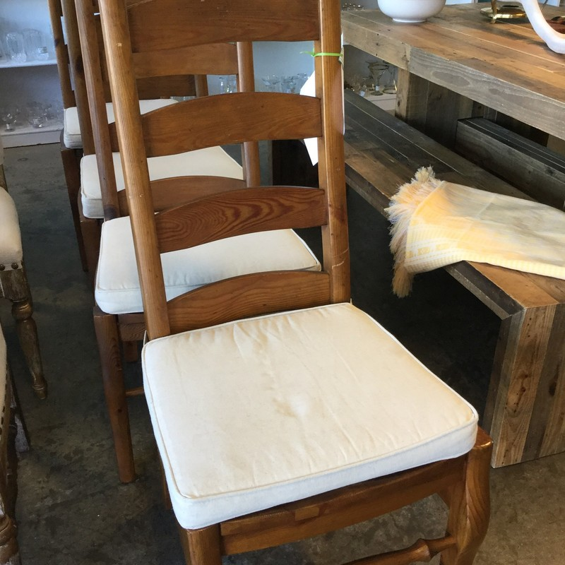 Pottery Barn Ladderback Chairs, Cream Cushion, Wood Frame, Set of 4