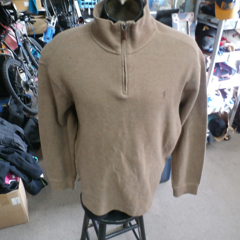 "Polo by Ralph Lauren brown quarter zip pullover sweatshirt size XL cotton #35197<br /> Rating: (see below) 4- Fair Condition<br /> Team: n/a<br /> Player: n/a<br /> Brand: Ralph Lauren<br /> Size: Men's XLarge- (Measured Flat: Across chest 26""; Length 29"")<br /> Measured Flat: underarm to underarm; top of shoulder to bottom hem<br /> Color: brown<br /> Style: long sleeve; embroidered<br /> Material: 100% cotton<br /> Condition: 4- Fair Condition: wear marks on shoulders (see photos)<br /> Item #: 35197<br /> Shipping: FREE"