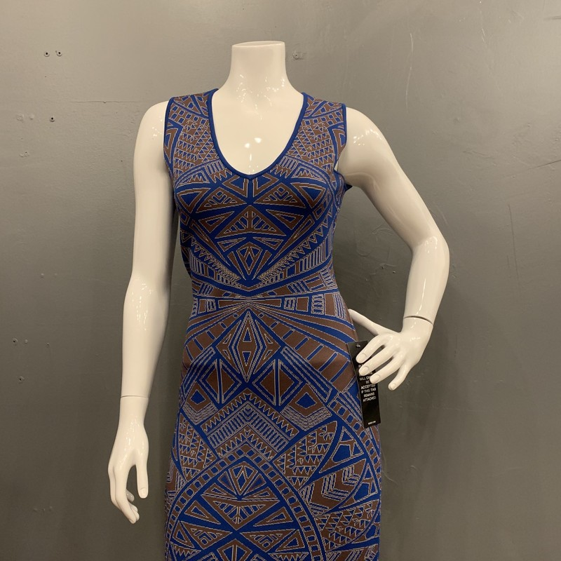 BCBG Pattern Bodycon NS, Tan/blue, Size: M<br /> new with tags retail $298<br /> 86% rayon<br /> 13% nylon<br /> 1% spandex
