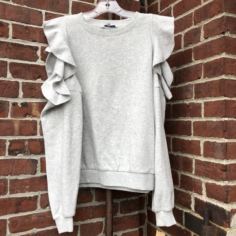 Rebecca Minkoff Sweatshir, Gray, Size: Large<br /> Ruffle sweatshirt with open shoulders, stunning!