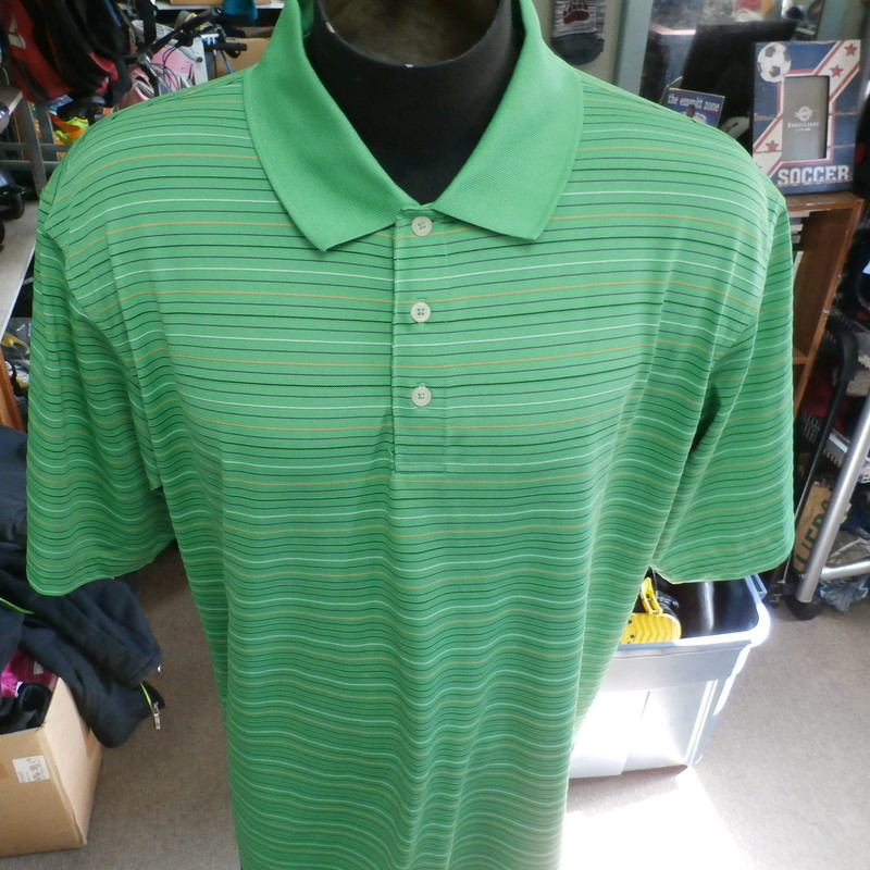 "PGA Tour green striped men's polo shirt size 2XL 100% polyester #9610<br /> Rating: (see below) 4- Fair Condition<br /> Team: n/a<br /> Player: n/a<br /> Brand: PGA Tour<br /> Size: Men's XXLarge- (Measured Flat: Across chest 26""; Length 29"")<br /> Measured Flat: underarm to underarm; top of shoulder to bottom hem<br /> Color: green<br /> Style: short sleeve; screen printed<br /> Material: 100% polyester<br /> Condition: 4- Fair Condition: minor wear; small light stains on lower front (see photos)<br /> Item #: 9610<br /> Shipping: FREE"