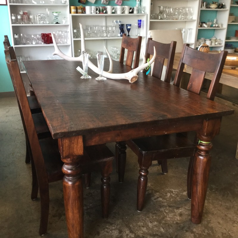 "World Market Dining Table with 6 Chairs, Dark Wood, Size: 82""X38""X30"""