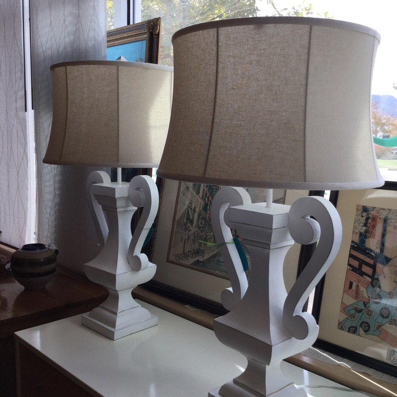 "Lamp Scrolly Urn, White, 2 Available, Size: 34""X18"""